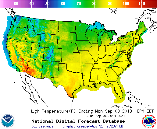 noaa, outlook, Labor Day weekend, temperature