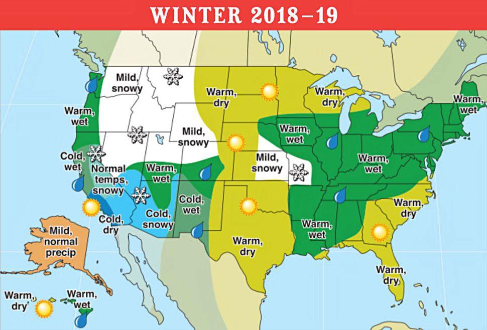 Noaa Old Farmers Almanac Almanac Winter 2018 19 Across The Us According To