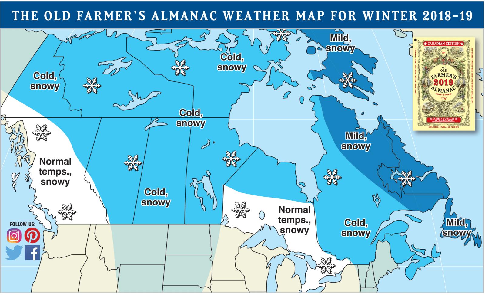 farmers almanac, almanac, canada, cold, snowy