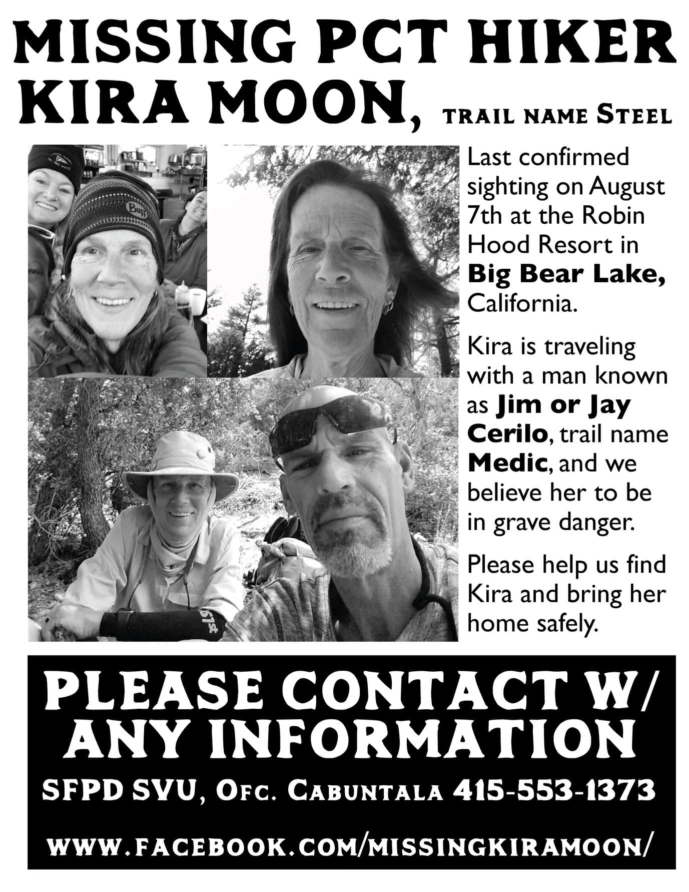 Kira moon, missing, pct, pacific crest trail, steel, Jim cerilo, jay cerilo
