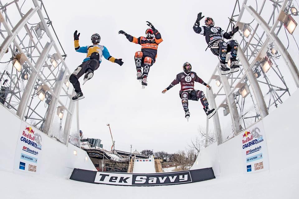 Ice cross gap jump.