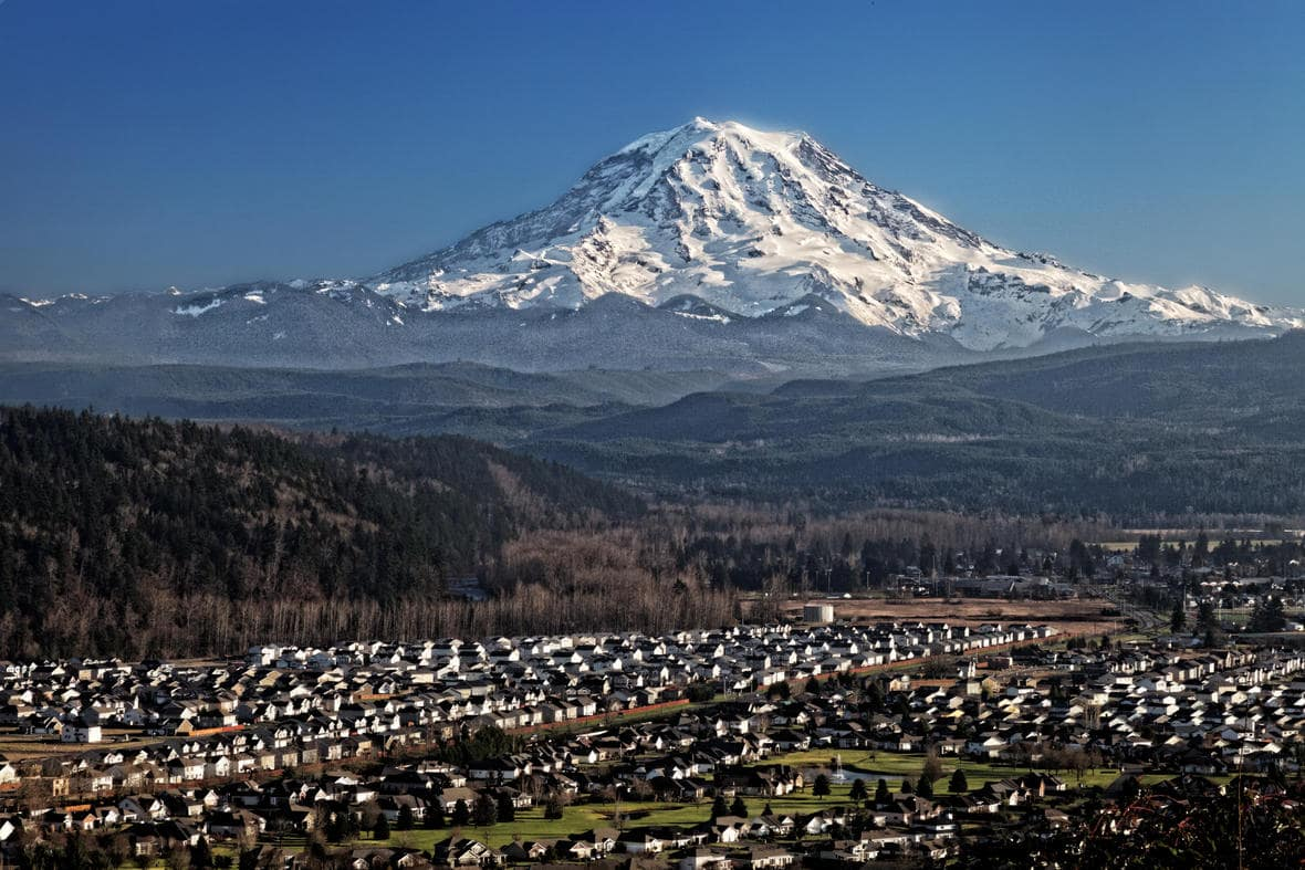 Lahars would wipe out homes and infrastructure in the Puyallup Valley.