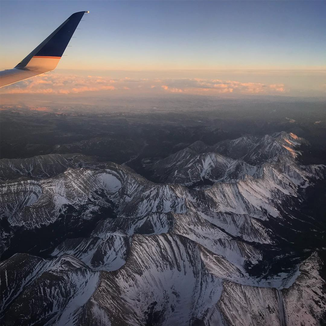 View of mountains, photo from plane, ski resort photo from plane