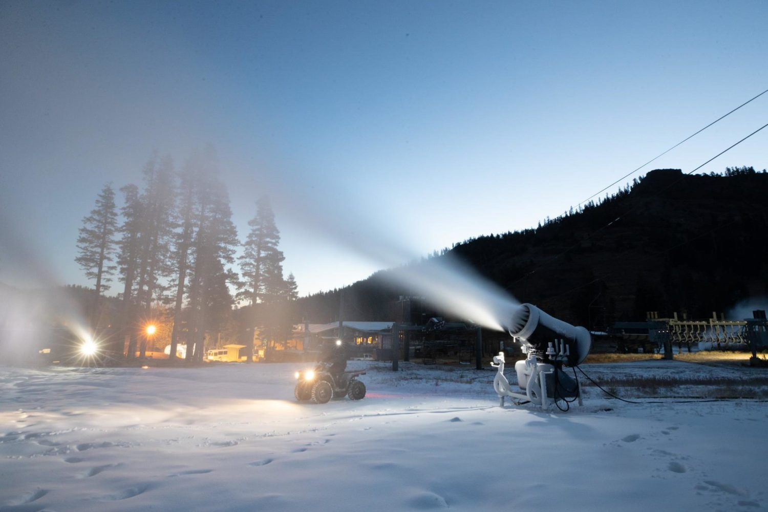 Snowmakers hard at work all hours of the day. Credit - SVAM Facebook