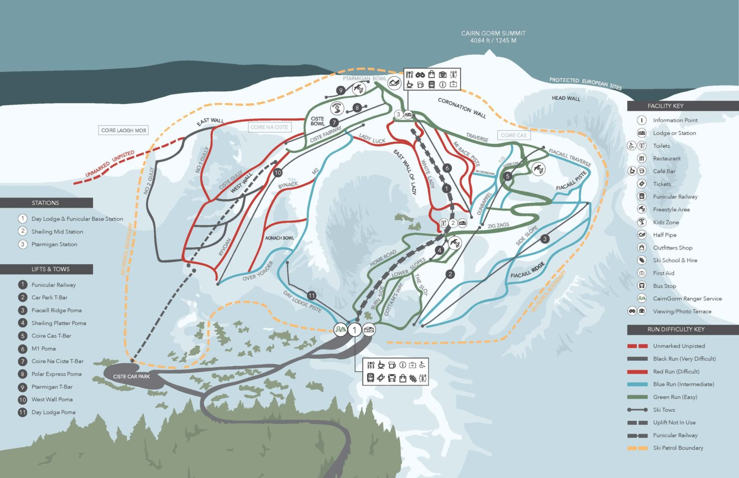 Piste map shows how skiers could reach the same terrain without the funicular