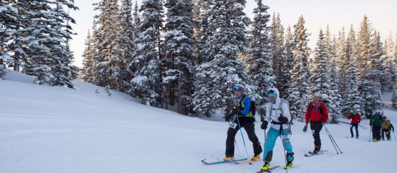 Photo depicts uphill skiers doing their thing
