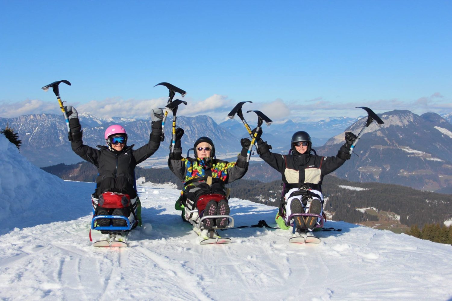Three happy skiers that might not be able to return to CairnGorm this year