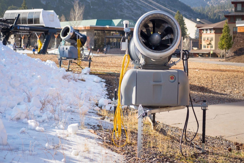 Fan guns put out a ton of snow