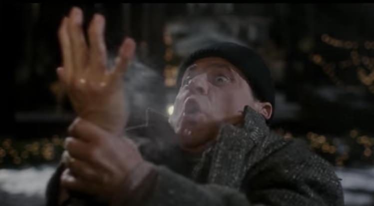 Harry Burns his hand.