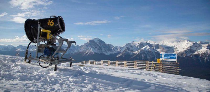 Snowmaking fan gun in the mountains