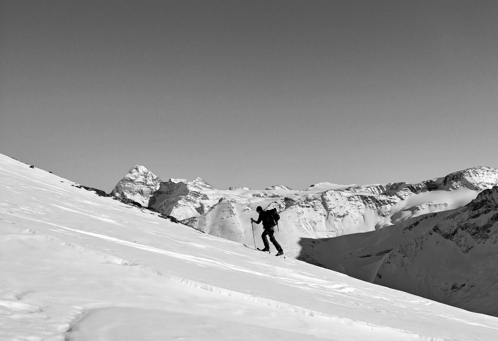 ski touring up green ridge