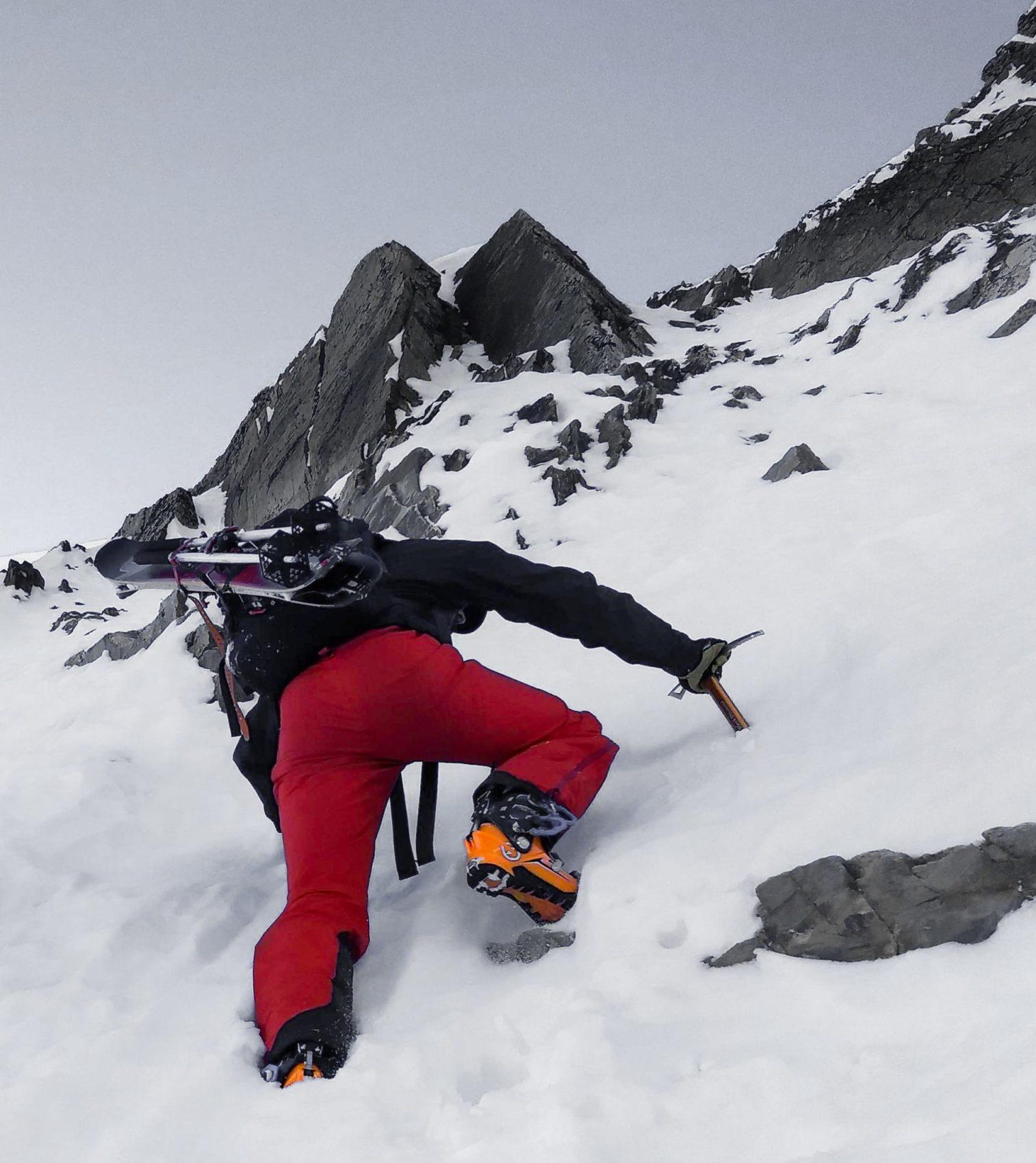 ski mountaineer climbing Ross Pass