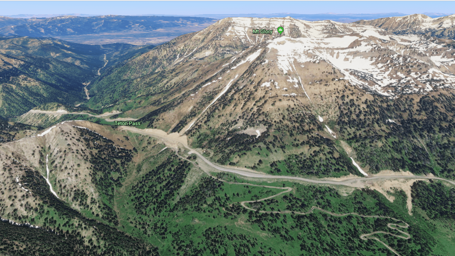 Avalanche paths over the highway