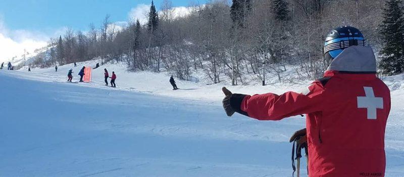 Ski Patrol Thumbs Up, Ski Patrol Slow Down, Slow Zone Ski Resort, Ski resort Snowbasin, snowbasin ski patrol