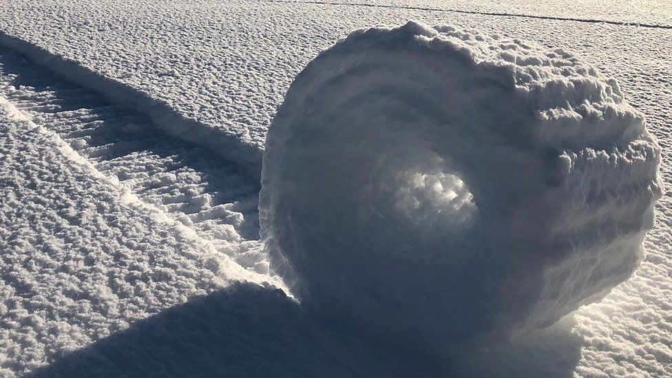 snow rollers, rare, natural phenomenon