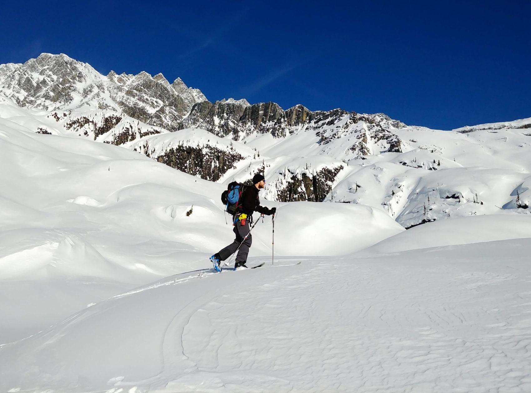 skier with glacier travel gear