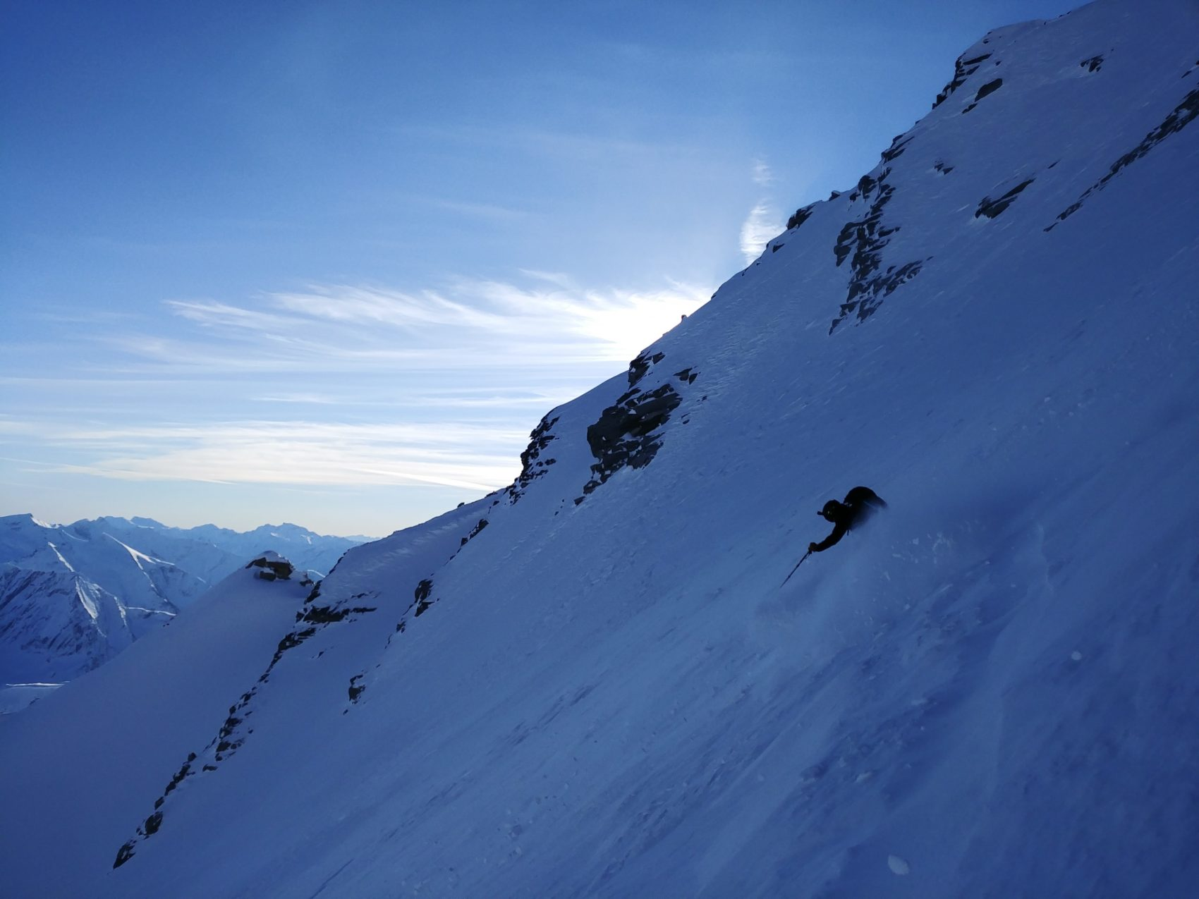 skier down rogers col