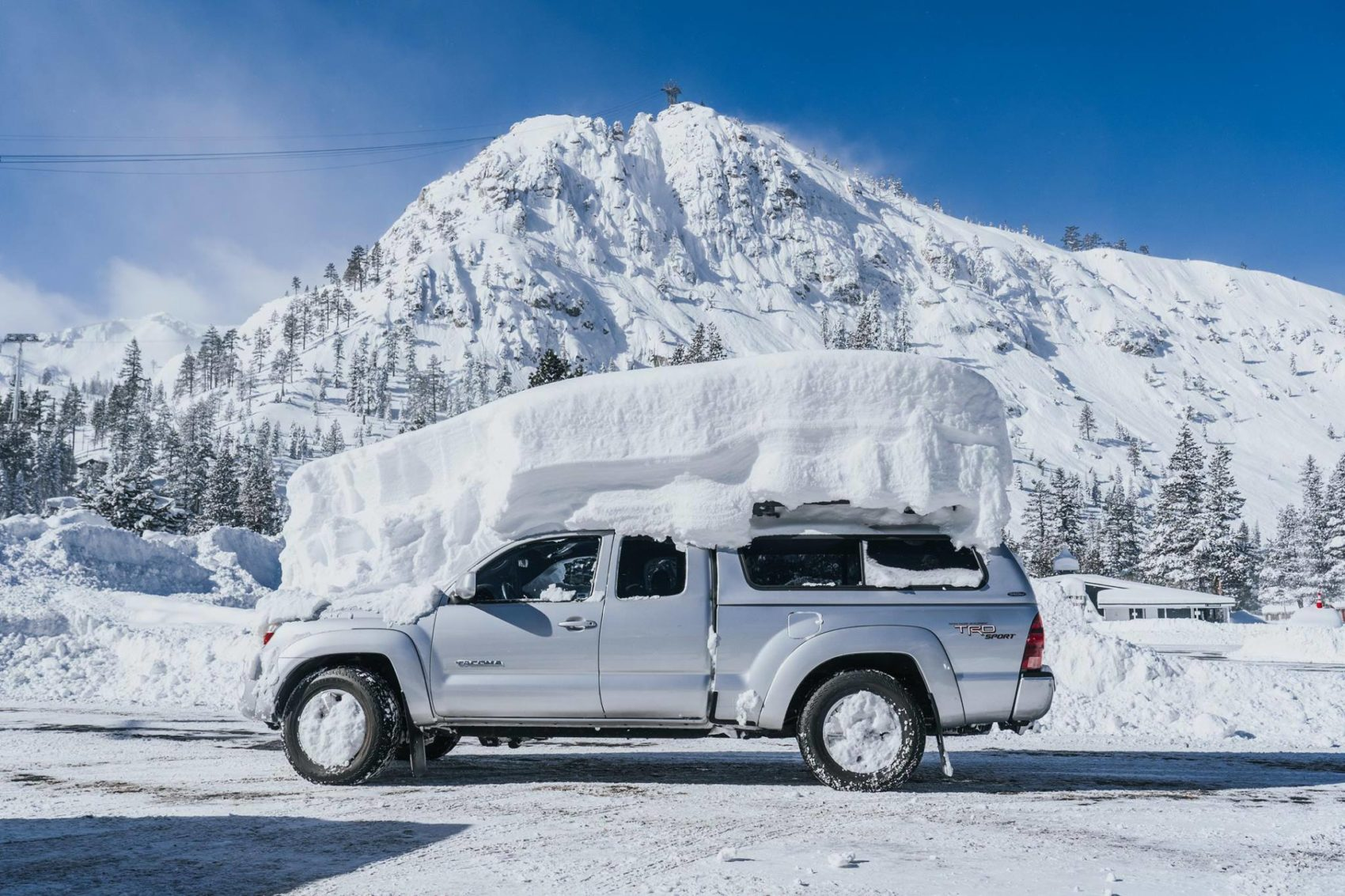 Squaw Valley, alpine meadows, california, snowiest month ever, februburied