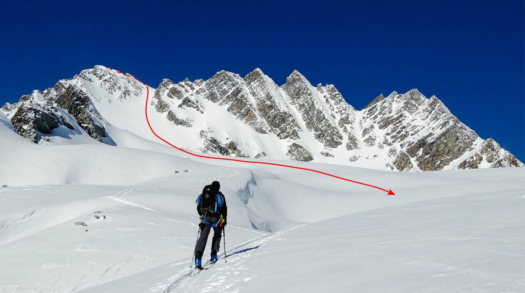 skier climbing rogers peak