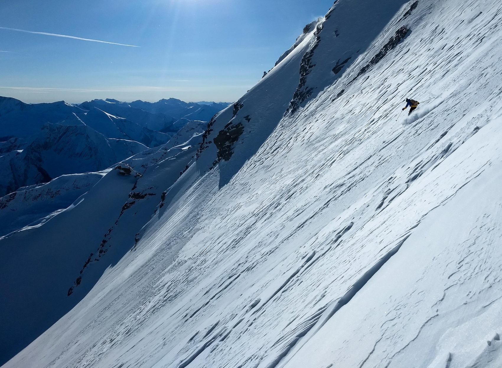 skier down rogers south face