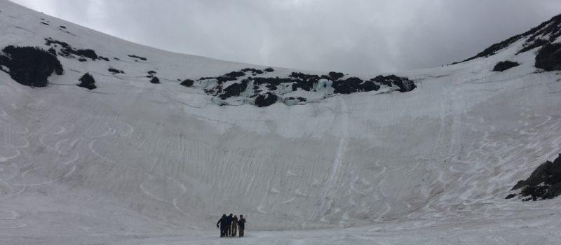 Tuckerman ravine, waterfall hole, skier, lucky escape