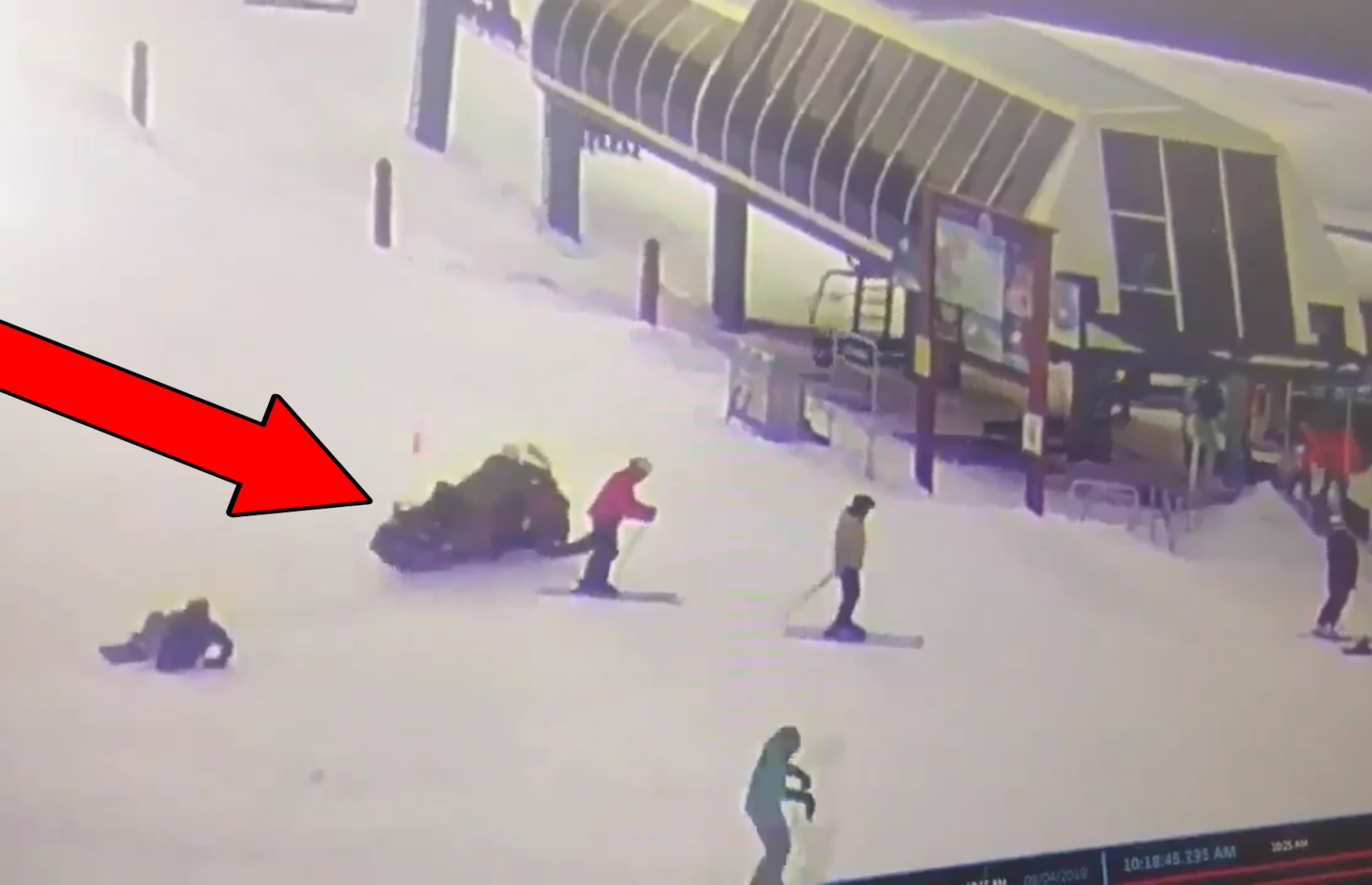 Video Out Of Control Snowmobile Smashes Into Lift Station