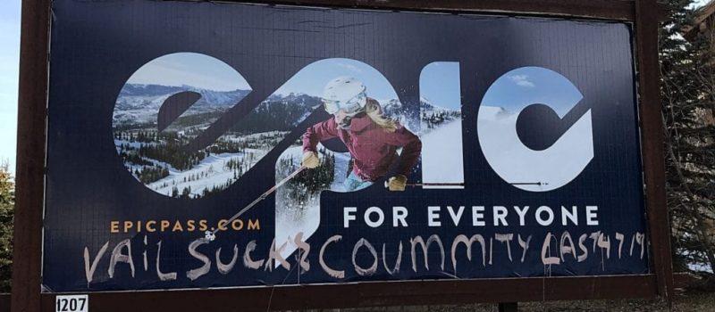 park city, Utah, vail resorts, graffiti, vandalised, billboard