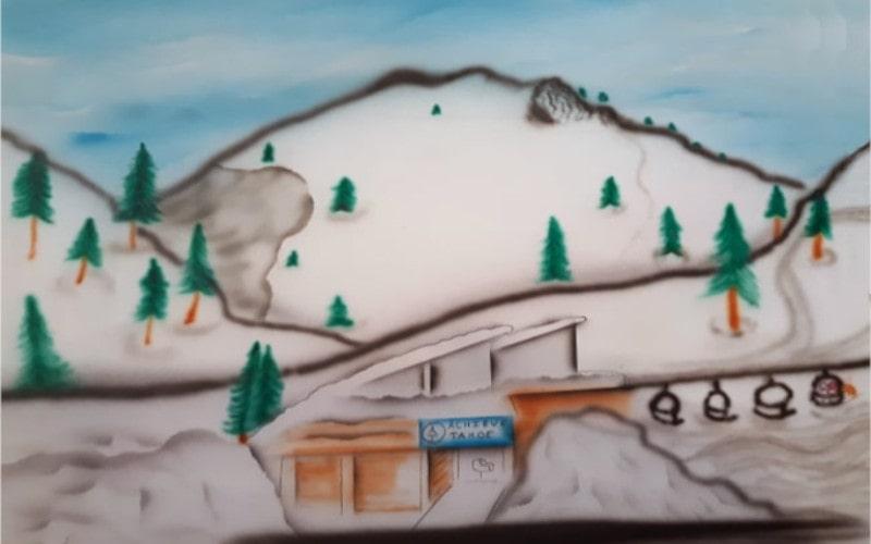 Drawing by R. Swanson showing Achieve Tahoe Adaptive Ski School at Alpine Meadows SVAM