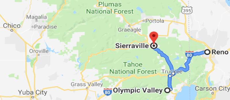 Google Map Showing Northern California Snowbrains