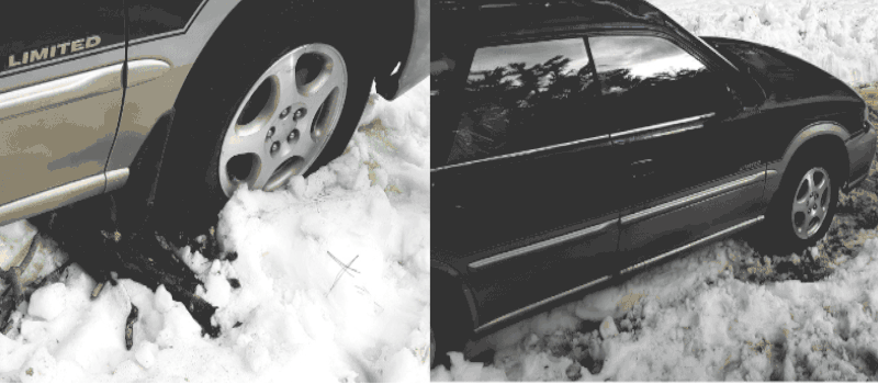 Car stuck in snow and mud
