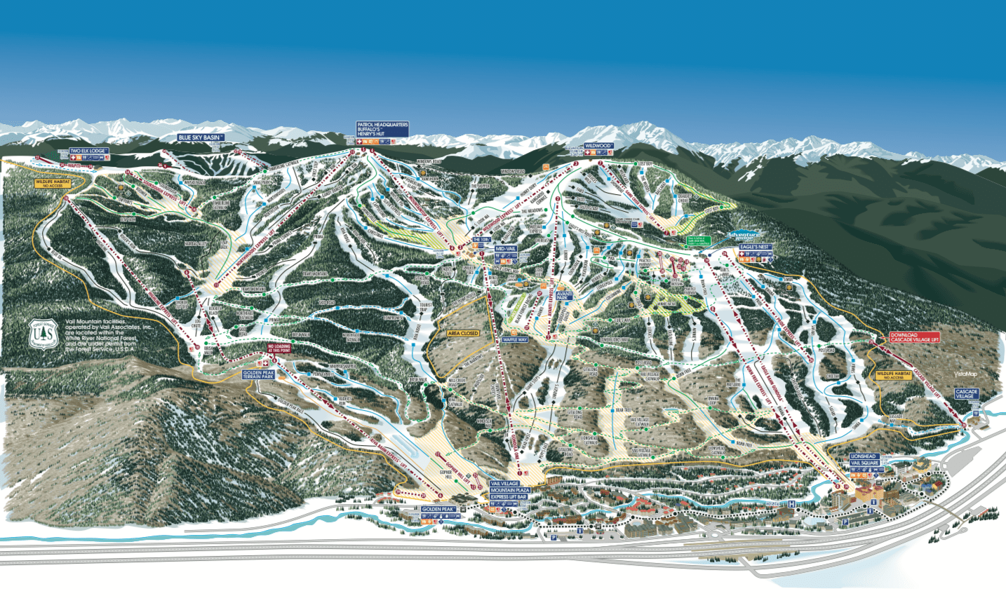 vail, colorado, trail map