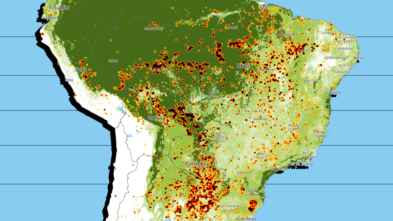 A real-time map of the fires burning the Amazon.