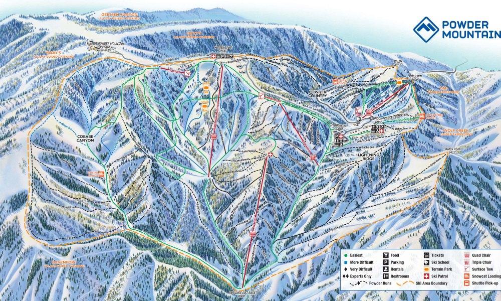 A trail map of Powder Mountain