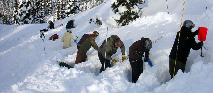 Digging snow pits is a good way to test the quality of the snow and the potential for an avalanche.
