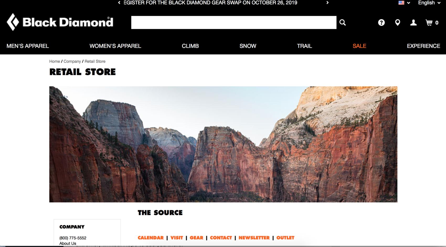 The website for Black Diamond
