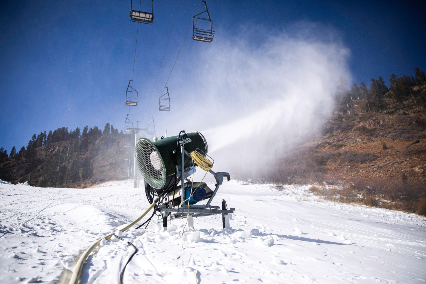 snowmaking, Squaw Valley, alpine meadows, california