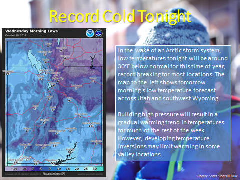 Record lows in Salt Lake City, Utah tonight.