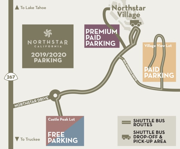 northstar, vail resorts, parking charges, parking map