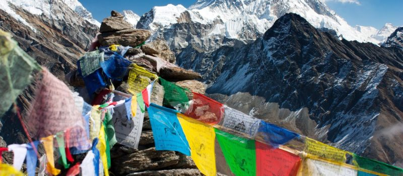 The view from the summit of Gokyo Ri, in the Khumbu region of the Nepal Himalayas.