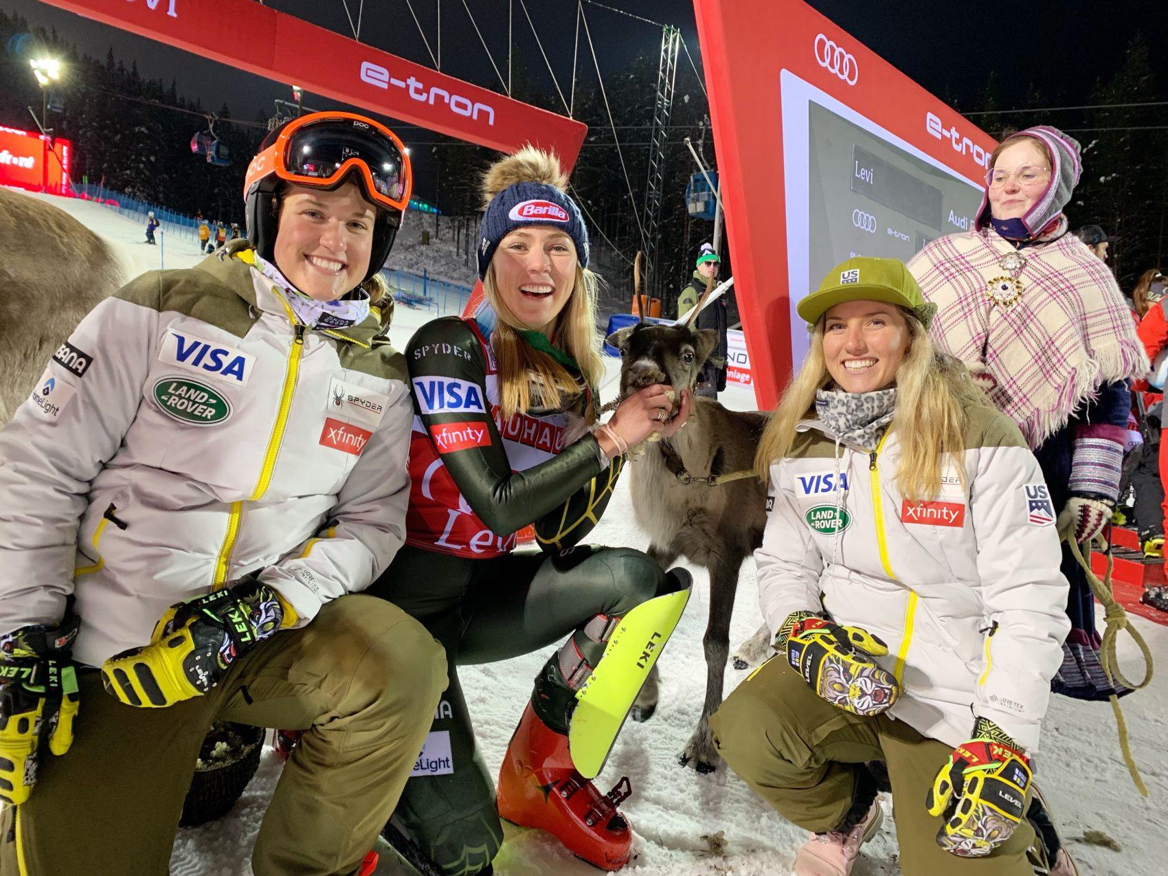 Mikaela Shiffrin, reindeer, Levi, Finland