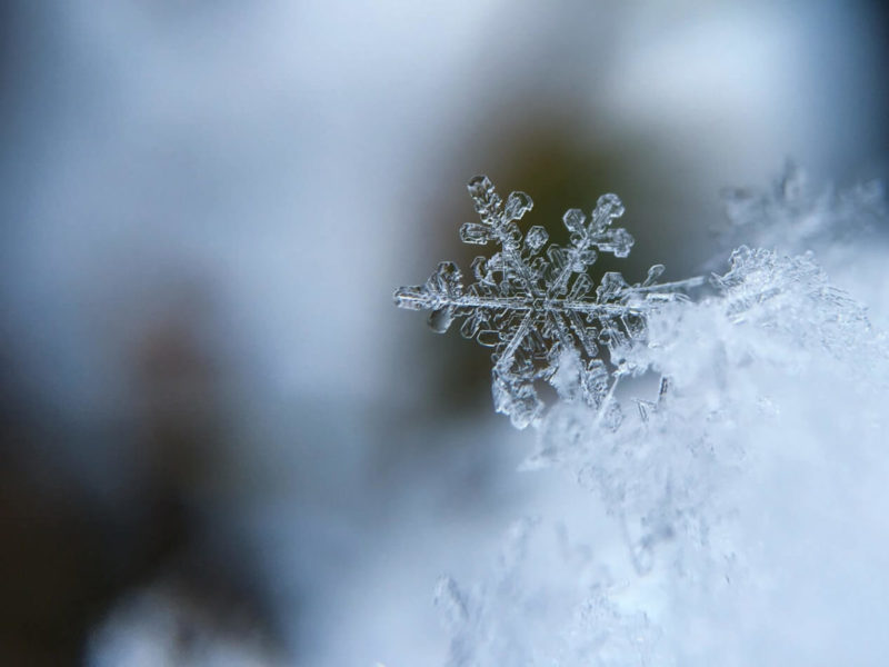 Close-up photo of a perfect snowflake.