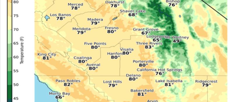 Record high temperatures in central California