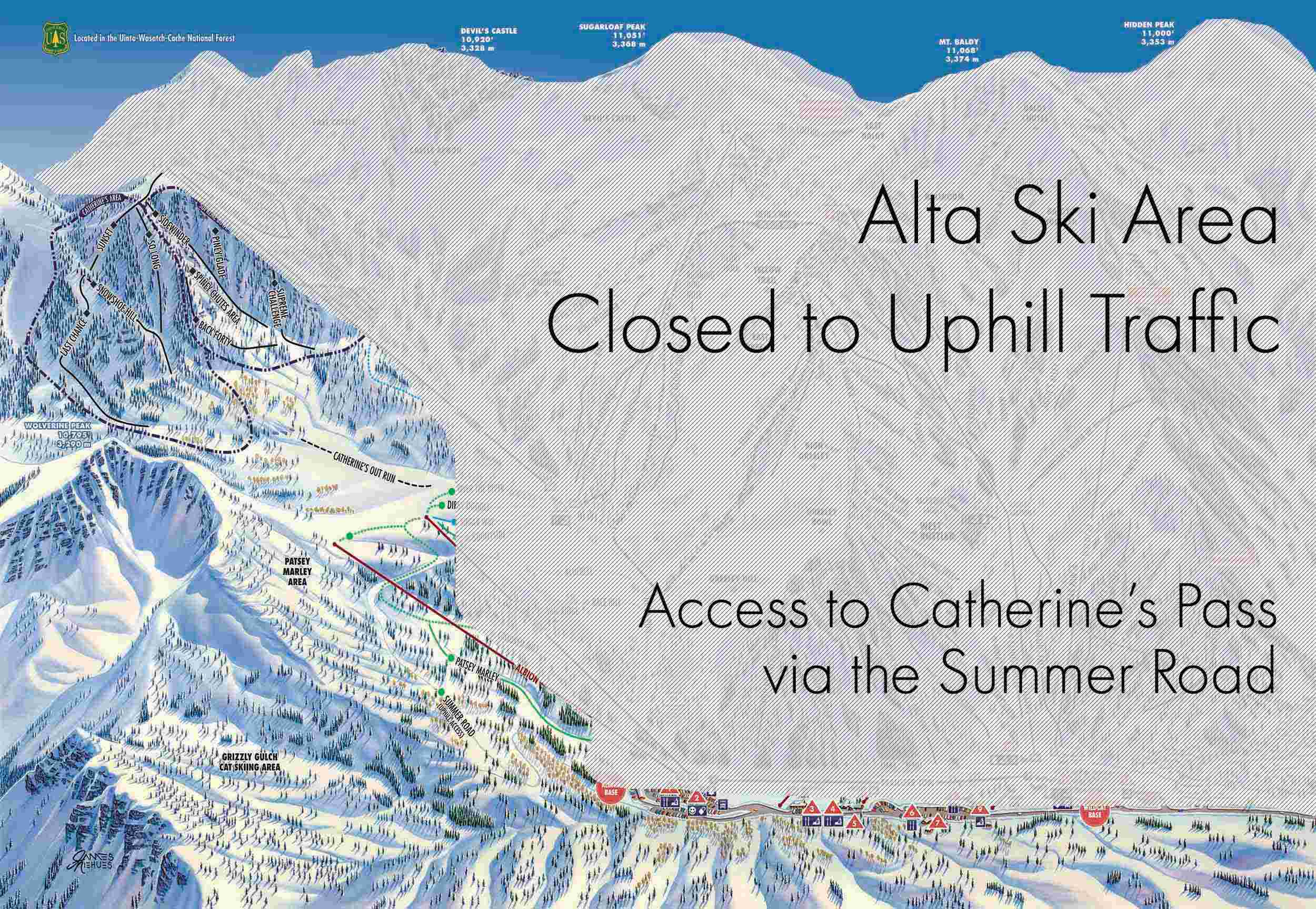 alta ski area, utah, no uphill traffic,