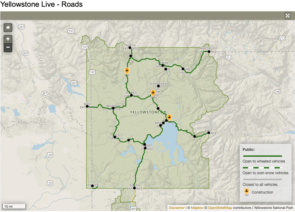 Yellowstone, roads closed
