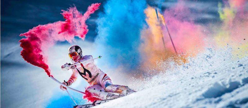 Marcel Hirscher bursts into color for a celebratory slalom run.