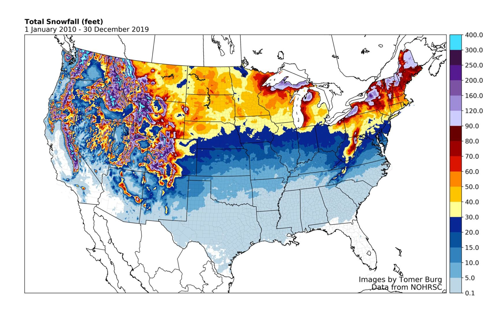 snowfall, usa, North America, decade