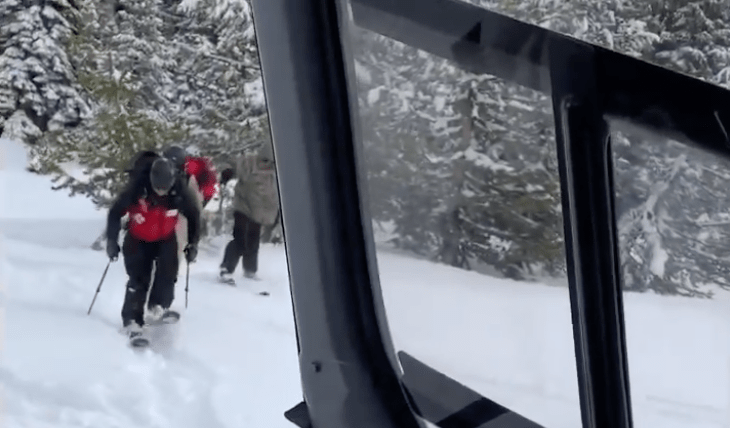 skier, rescued, Squaw Valley, california