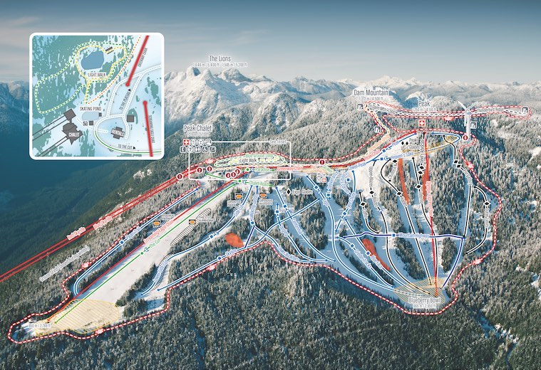 Grouse Mountain has night skiing on almost half of its runs.