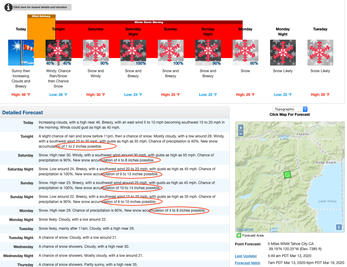 Noaa Winter Storm Warning For Tahoe Area 36 60 Snow To Bury Ski Areas Snowbrains