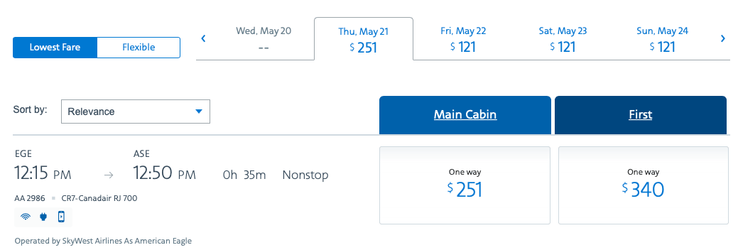 American Airlines, Vail, Aspen, Colorado